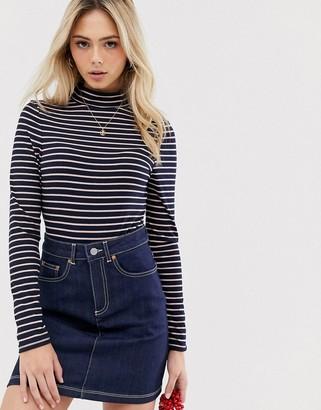 Brave Soul roll neck bodysuit in stripe