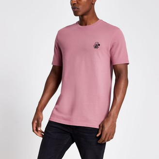 River Island Mens R96 Pink pique slim fit T-shirt