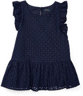 Ralph Lauren Eyelet Cotton Peplum Top