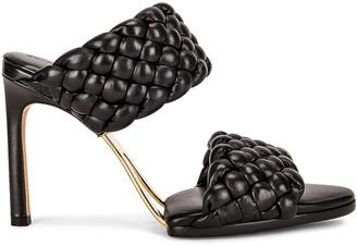 Bottega Veneta Lido Leather Woven Sandals in Black | FWRD