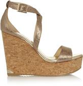 Jimmy Choo Portia metallic cracked-leather wedge sandals