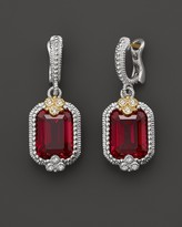 Judith Ripka Sterling Silver and 18K Gold Estate Emerald Cut Earrings in Lab-Created Red Corundum with White Sapphire