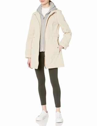 Tommy Hilfiger Women's Sporty and Classic Zip Front Hooded Soft Shell Rain Jacket