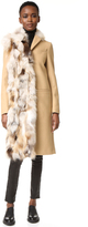 MSGM Wool Peacoat with Fox Fur Trim