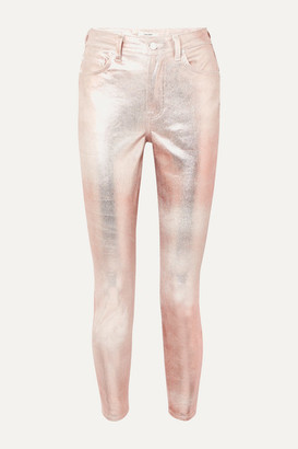 GRLFRND Karolina Metallic Coated High-rise Slim-leg Jeans - Pink