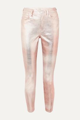 GRLFRND Karolina Metallic Coated High-rise Slim-leg Jeans - Silver