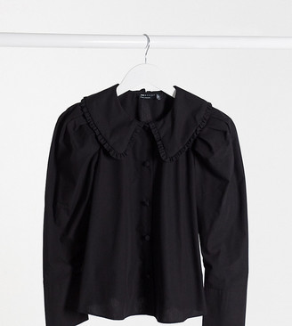ASOS DESIGN Petite long sleeve shirt with frill collar detail in black
