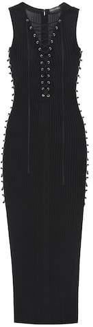 David Koma Lace-up knit dress