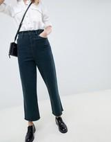 Asos Design DESIGN wide leg jeans in overdyed dark green textured stripe