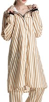 Liveinu Women's PVC Long Size Hooded Raincoat With Removable Pants Sleeves Striped Yellow L