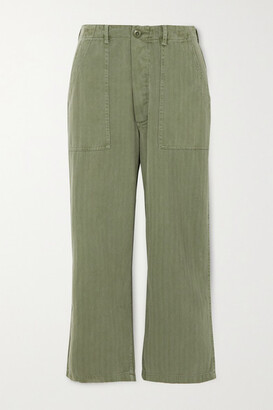 The Great The Herringbone Trooper Cropped Cotton Straight-leg Pants - Green