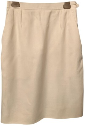 Saint Laurent White Linen Skirt for Women Vintage