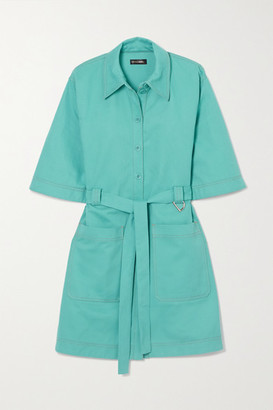 Stine Goya Net Sustain Carli Belted Cotton-twill Mini Shirt Dress - Light blue