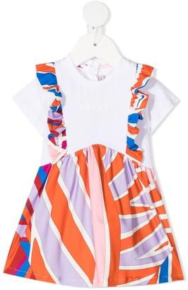 Emilio Pucci Junior Abstract Stripe Pinafore Dress