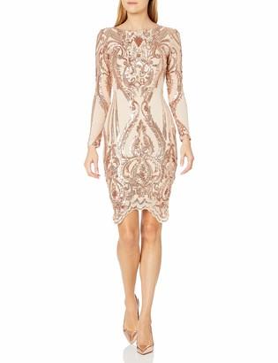 Betsy & Adam Women's Short Long Sleeve Sequin Dress