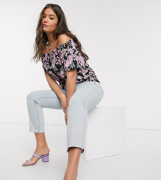 Fashion Union Plus bardot top in dark floral