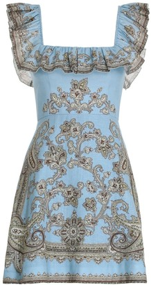 Zimmermann Fiesta Ruffle Neck Short Dress in Aqua Paisley