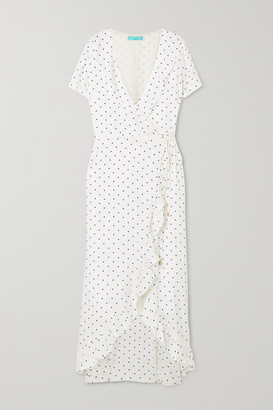 Melissa Odabash Tilly Ruffled Polka-dot Jacquard Wrap Dress