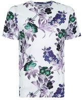 Topman White Floral Print T-Shirt