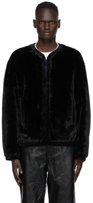 we11done Black Faux-Fur Jacket