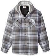 Wrangler Authentics Men's Big-Tall Long Sleeve Quilted Lined Flannel Shirt Jacket With Hood