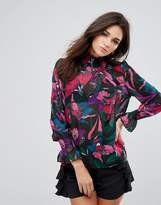 AX Paris Floral Chiffon Flute Sleeve High Neck Top