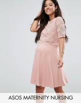 Asos NURSING Lace Double Layer Skater Mini Dress