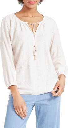 Nic+Zoe Etched Florals Embroidered Cotton Blend Sweater