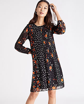 Ann Taylor Petite Floral Pleated Shift Dress