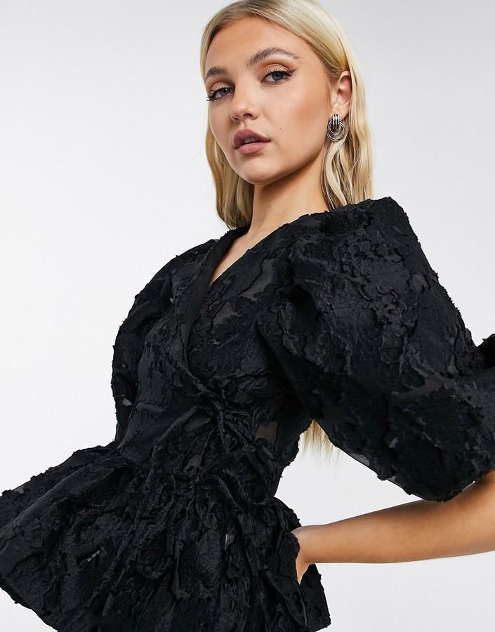 Sister Jane Dream organza wrap blouse set in black