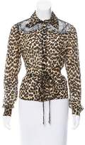 John Galliano Silk Leopard Print Top