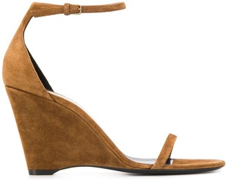 Saint Laurent Suede Wedge Heel Sandals