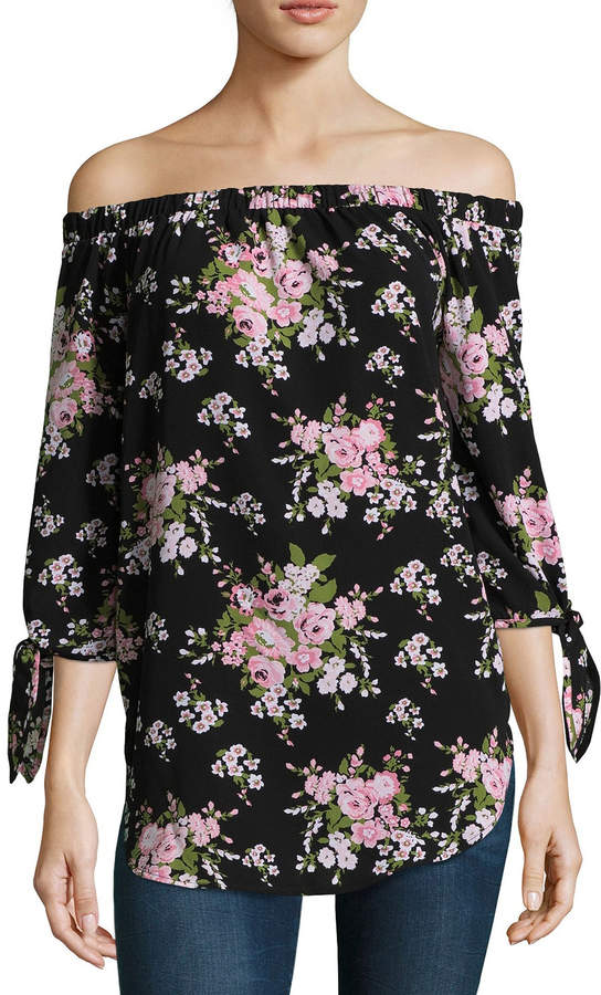 Miss Chievous 3/4 Sleeve Straight Neck Woven Floral Blouse-Juniors