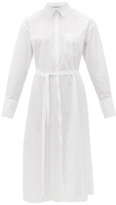 Another Tomorrow - Belted Organic Cotton-poplin Shirt Dress - Womens - White