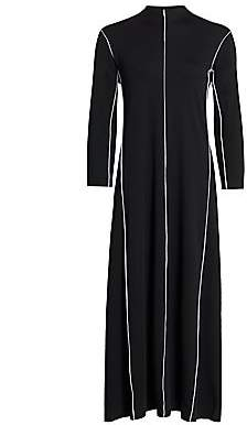 Joan Vass Women's Contrast-Trim Maxi Dress