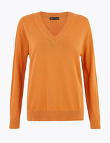 Marks and Spencer Pure Cotton Relaxed Fit V-Neck Jumper