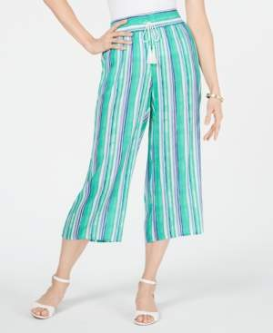 Charter Club Striped Wide-Leg Capri Pants, Created for Macy's