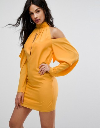 Aq/Aq Mini Dress With Cold Shoulder Ruched Detail