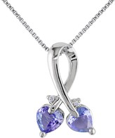 Sterling Silver Diamond & Tanzanite Heart Pendant Necklace