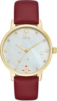 Kate Spade Women's Metro Zodiac Libra Merlot Leather Strap Watch 34mm KSW1199