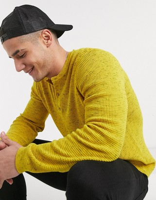 Asos Design DESIGN knitted grandad neck sweater in waffle knit texture in mustard
