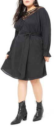 ELOQUII Lace Yoke Long Sleeve Easy Dress