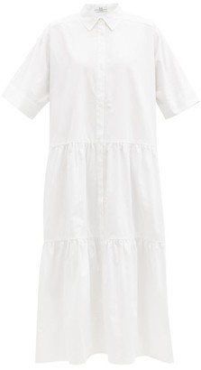 Co Tiered Cotton-sateen Midi Shirt Dress - White