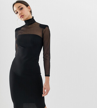 John Zack Tall mesh sleeve bodycon dress in black