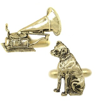 1928 Jewelry Gold-Tone Dog and Phonograph Cuff Links
