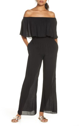 Elan International Off the Shoulder Ruffle Cover-Up Jumpsuit
