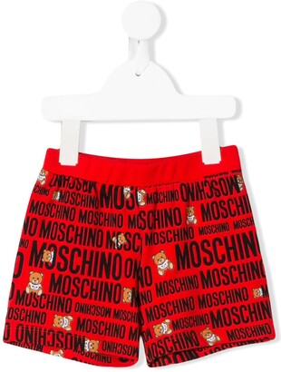 Moschino Kids logo teddy print shorts