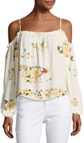 Romeo & Juliet Couture Floral-Print Cold-Shoulder Blouse, Cream