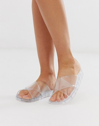 clear ASOS DESIGN Fruity jelly flat sandals in
