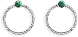 Agnes de Verneuil Stone Studs & Pearled Ear Jacket - Silver & Malachite